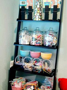 Scrapbook designer Valerie Salmon's attic scraproom has the perfect balance of hardworking storage solutions and relaxing decor. See how she makes the most of her scrapbook space and get some storage solutions you can use in your own crafting spot. Scrapbook Storage, Scrapbook Supplies, Craft Supplies, Scrapbook Rooms, Office Supplies, Scrapbooking, Space Crafts, Home Crafts, Metal Shelving Units
