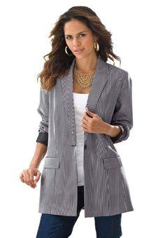 Roamans Women's Plus Size Striped Boyfriend Blazer Denim 24/7 (Black Roamans http://www.amazon.com/dp/B00HXHD442/ref=cm_sw_r_pi_dp_RcS9tb0ET8MSB