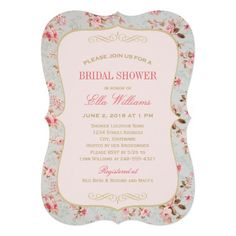 Vintage garden party themed wedding bridal shower invitation with pastel colored floral roses. ♥ More bridal shower invitations at http://www.zazzle.com/bridal+shower+invitations?ps=120&rf=238252963030229232&tc=wpz ♥