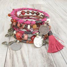 Silk Road Gypsy Bangle Stack  Sunset Pinks  6 by GypsyIntent, $74.00
