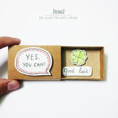 Welcome to JtranJ, Shop has professional craft shop for 4 years. - Online Store Powered by Storenvy Good Luck Cards, Good Luck Gifts, Love Cards, Matchbox Crafts, Matchbox Art, Birthday Gifts For Best Friend, Best Friend Gifts, Diy Crafts For Gifts, Paper Crafts