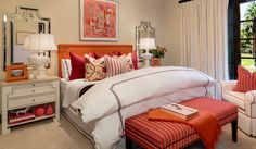Barclay Butera Interior Design - Town and Country - Los Angeles Interior Designer, Newport Beach Interior Designer, Park City Interior Designer, New York Interior Designer - Madison Club - Orange and White Bedroom - Coral Bedroom, Coral Headboard, Coral ottoman, feminine bedroom, girls bedroom inspiration