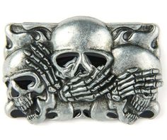 Hear see speak no evil three skull buckle belts and buckles 4