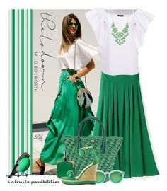 """""""Green infinite possibilities"""" by fashion-architect-style ❤ liked on Polyvore featuring Dolce&Gabbana, Excell, Illesteva, Michael Antonio and Forever 21"""
