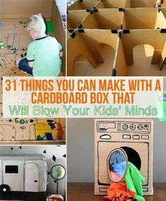 31 Things You Can Make With A Cardboard Box That Will Blow Your Kids' Minds- children loves playing with big cardboard box. Using a big cardboard box from purchased furniture or from the grocery store can easily turn it into a variety of exploration. Toddler Fun, Toddler Activities, Activities For Kids, Toddler Games, Creative Activities, Projects For Kids, Diy For Kids, Crafts For Kids, Diy Projects