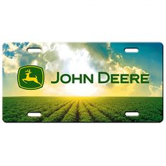 John Deere Field Scene License Plate   RunGreen.com