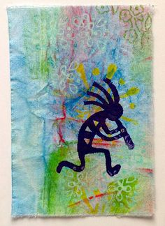 Kokopelli Designs using Block Printing. Exploring new surfaces, experimenting with creating sumptuous backgrounds is something that we love to teach in our Colouricious Textile Art Workshops. Check out our workshops at http://www.colouricious.com