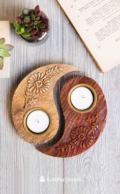 This handmade tealight holder embodies the concept of wholeness with two separate halves that join together! Embossed with beautiful floral designs, each piece is carved by fair trade artisans in India. One half Wood Projects For Beginners, Diy Wood Projects, Woodworking Projects, Handmade Home Decor, Diy Home Decor, Room Decor, Home Candles, Tealight Candle Holders, Wooden Crafts