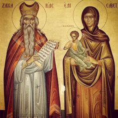 Saint Zachary and Saint Elizabeth were the father and the mother of Saint John the Baptist, the last and the greatest of the prophets and the precursor of Our Lord. Saint Zachary's story is b… Byzantine Icons, Byzantine Art, Religious Icons, Religious Art, Catholic Art, Catholic Prayers, Art Thou, John The Baptist, Orthodox Icons