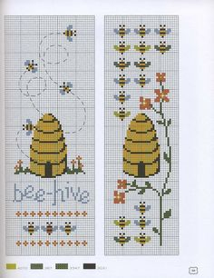 two bee related cross stitch charts one with hive one with lots of bees