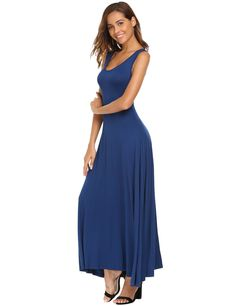 51beccd2d2c3 ANGVNS Casual Women Sleeveless Long Round Neck Solid Pleated Maxi Dress      Find out more about the great product at the image link. (Note Amazon  affiliate ...