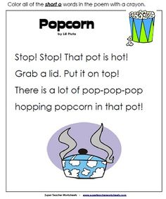 """Popcorn is a fun, easy-to-read poem with lots of """"short o"""" words."""