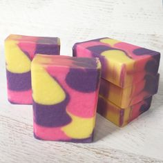 Scented in Grape Blow Pop. Color: Purple Vibrance and Lemon Drop Yellow micas by Nature Soap, Neon Tutti Frutti dye by Crafter's Choice. Tutti Frutti, Lemon, Challenge, Soap, Yellow, Purple, Nature, Handmade, Color