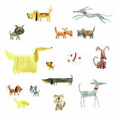 dogs, illustration