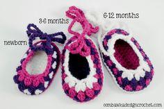 Free Pattern Baby Booties 3 Sizes @OombawkaDesign #freepattern #baby #booties #slippers