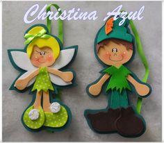 """Christina Azul: Marcador de páginas com elástico """"Sininho e Peter Pan"""""""