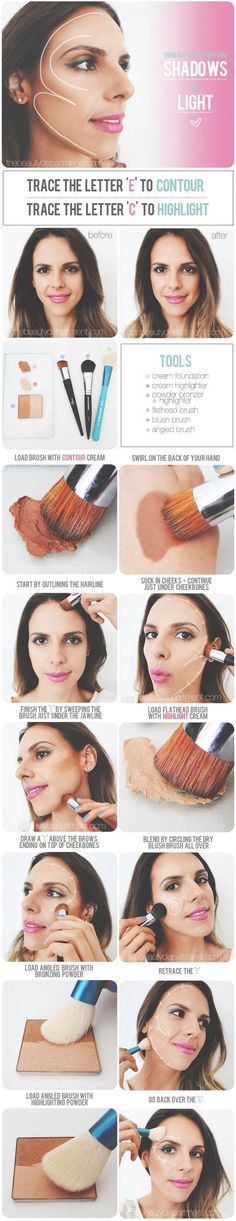 Contour cream would make me look like a drag queen but good reference on where to put bronzer and highlighter!