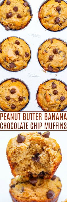 Peanut Butter Banana Chocolate Chip Muffins - Loaded with rich peanut butter and banana flavor and studded with chocolate in every bite!! This FAST and EASY muffin recipe is one bowl, no mixer, and perfect for those ripe bananas you have!! Best Dessert Recipes, Chef Recipes, Muffin Recipes, Desert Recipes, Desserts, Easy Recipes, Holiday Recipes, Apple Banana Bread, Banana Chocolate Chip Muffins