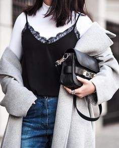 Lace Camisole, Balenciaga City Bag, Layers, Photo And Video, Tank Tops, Instagram Posts, Outfits, Winter, Women