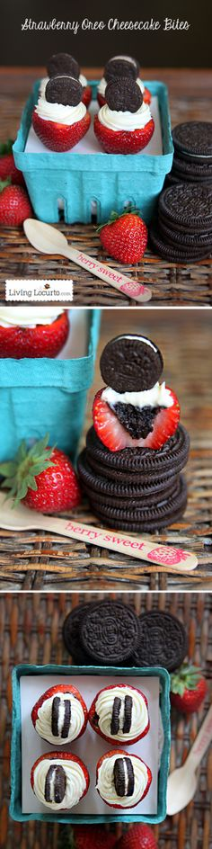 Oreo Cheesecake Stuffed Strawberries. Easy no bake chocolate strawberry desserts. A perfect bite sized recipe for any party! LivingLocurto.com
