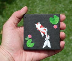 Excited to share the latest addition to my shop: Mini Canvas Koi Art Simple Canvas Paintings, Easy Canvas Art, Small Canvas Art, Mini Canvas Art, Cute Paintings, Small Paintings, Acrylic Painting Canvas, Easy Art, Canvas Ideas