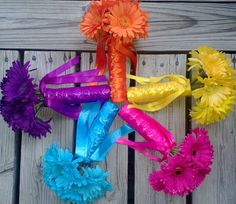 Daisy Bouquet Turquoise Daisy Bouquet Yellow by SilkFlowersByJean, $30.00