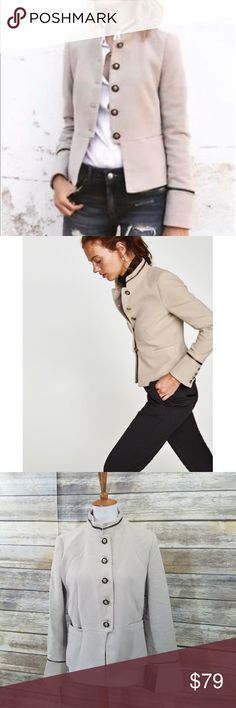 50ea066f NWT Zara Light Gray Cream Velvet Military Jacket Velvet blazer with high  collar, long sleeves