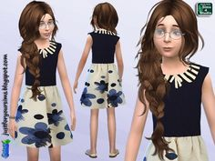 Just for your sims: Cream and Navy Floral Dress for Girls • Sims 4 Downloads