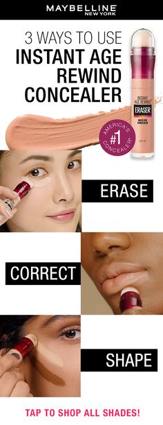 Erase, correct and conceal with America's #1 concealer, Instant Age Rewind Concealer. Tap to try on all shades using Maybelline's Virtual Try-On Tool. #concealer #naturalmakeup