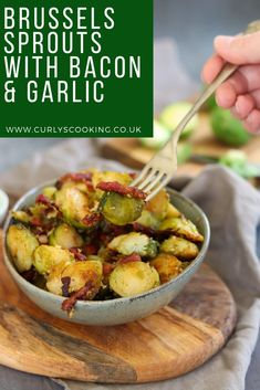 Crispy bacon with charred sprouts with a delicious hint of garlic, my Brussels Sprouts with Bacon & Garlic is not a boring side dish.