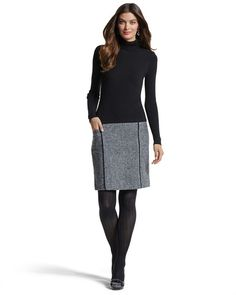 WHBM dress. Love the way it looks with the dark tights, perfect for fall