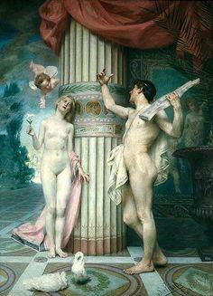 Amore and Psyche. 1891.Jose Maria Veloso Salgado. Portuguese…