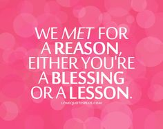 We met for a reason, either you're a blessing or a lesson. So much truth to this quote!