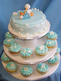 Baby Shower Cake and Cupcakes by cakespace - Beth (Chantilly Cake Designs), via Flickr