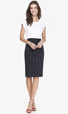 PAISLEY DOT HIGH WAIST MIDI PENCIL SKIRT | Express