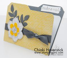 handmade card: File Folder Card format ... white, gray and yellow ... fun card design ... Stampin' Up!