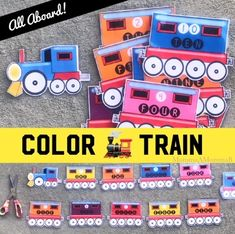 Color Train with Numbers Crates Hand Symbols, Homeschool Kindergarten, Community Helpers, Busy Bags, School Themes, Tot School, Counting, Crates, Paisley