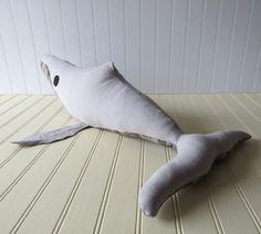 Cream Denim Whale, Whale Plush, Stuffed Whale, White Whale Push, Handmade Whale Toy