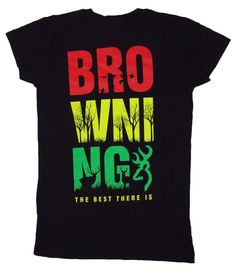 12279008 Browning Rasta Buckmark Fitted Tee Black Short Sleeve T-Shirt Womens