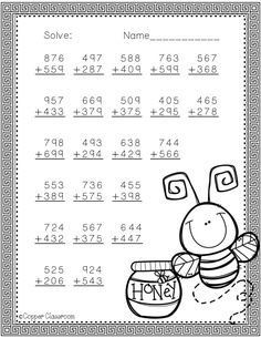Need extra addition practice? These ten pages focus on three digit addition. Most problems require regrouping. No prep, just print and go. There is an answer key included. Math Practice Worksheets, Printable Math Worksheets, Addition Worksheets, Kindergarten Math Worksheets, Math Addition, School Worksheets, Teaching Activities, Addition And Subtraction, Math Resources