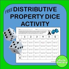 Distributive Property Dice Activity - FREE: This product is a sample of my… Math Teacher, Math Classroom, Teaching Math, Classroom Ideas, Fifth Grade Math, Ninth Grade, Seventh Grade, Fourth Grade, Math Properties