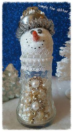 "Snowman Assemblage, Vintage Salt Shaker Snowman ""Miranda"", Glass Shaker, Snowlady Decoration, Christmas Collectible, Mixed Media Original by SimplyTheGlitter on Etsy"