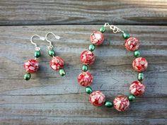 Bracelet and Earring Set Red Shell Earrings Red by ThreadedChains