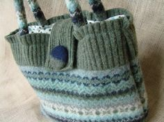 Purses Made From Recycled Sweaters | Funky Fair Isle Felt Purse by AtTheBrink on Etsy