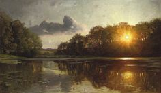 Peder Mønsted | Петер Мёнстед (1859-1941) Sunset over a forest lake | Закат над лесным озером. 1895