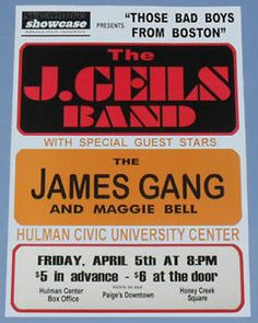 The J.Geils Band, The James Gang, Maggie Bell - Indiana State University