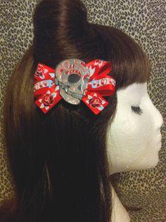 Sugar Skull Pin Up   Sugar Skull and Tattoo Print Hair Bow Rockabilly Pin ..