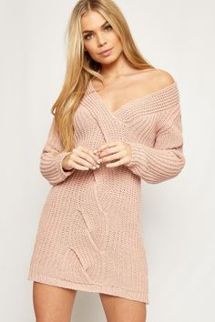Allison Cable Knitted Plunge V-Neck Jumper Dress-88253-20