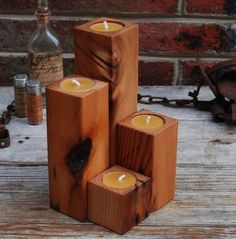 Image result for Wooden Block Candle Holders
