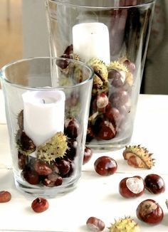 Making autumn decoration yourself - 15 DIY craft ideas for the third season - Deko - Diy Pinterest, New Swedish Design, Autumn Table, Conkers, Autumn Decorating, Autumn Crafts, Diy Autumn, Summer Crafts, Deco Table